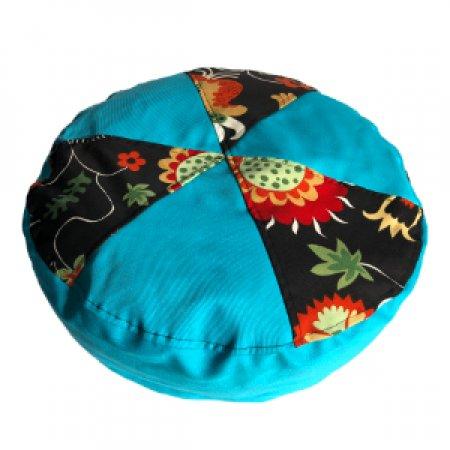 Kék-virágok mintás babzsák ülőpárna, bútorszövet