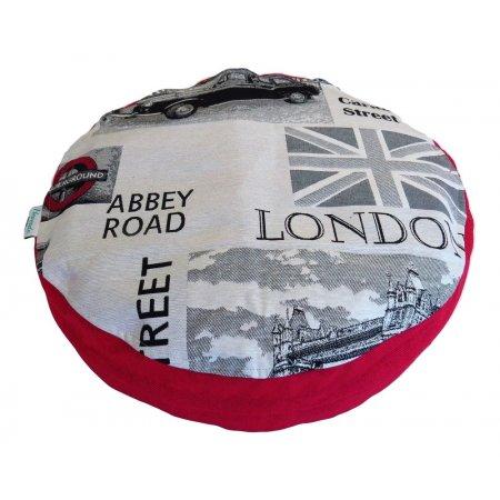 """Ülőpárna, """"Londoni álom"""", piros bútorszövet"""