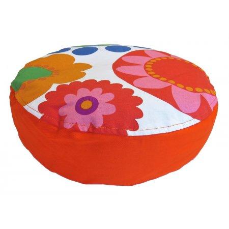 Ülőpárna, virágos-narancs pamutvászon