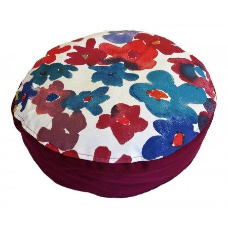 Ülőpárna, bordó-kis virágos pamutvászon