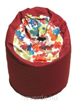 Kisfőnök gyerek babzsák fotel alul piros színben, az ülőrész színes virág mintás