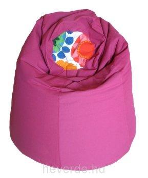 Körte formájú kamasz méretű babzsák fotel ciklámen színben, az ülőrészen színes virágmintás