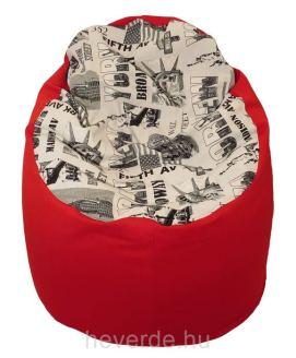 Felnőtt méretű Nagyfőnök babzsákfotel, oldalt piros színű, az ülő rész New Yorkos mintával